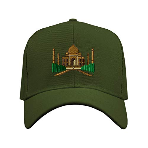 Speedy Pros Baseball Cap Taj Mahal Embroidery Design Acrylic Hard Hat Hook & Loop Olive Green Design Only
