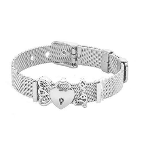 Monet Pattern Bracelet (Leving Woman Men Bracelet Mesh Bracelet Set Crystal Heart Anchor Charm Fine Bracelet Bangle for Female Lover,ST004)