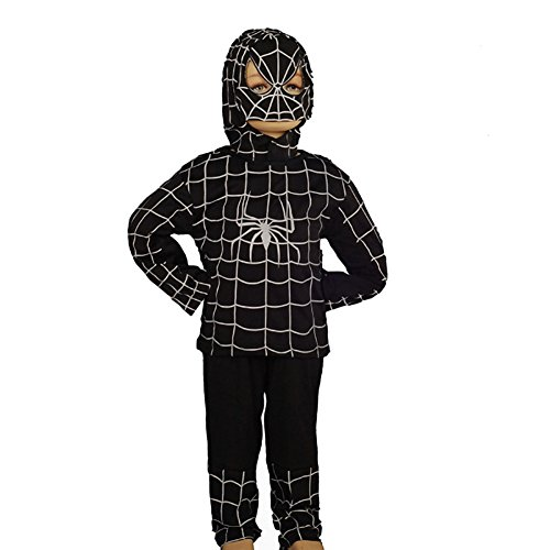 Superhero Outfit (Dressy Daisy Boys' Black Spiderman Superhero Fancy Party Halloween Costume Outfit Size 4-5)