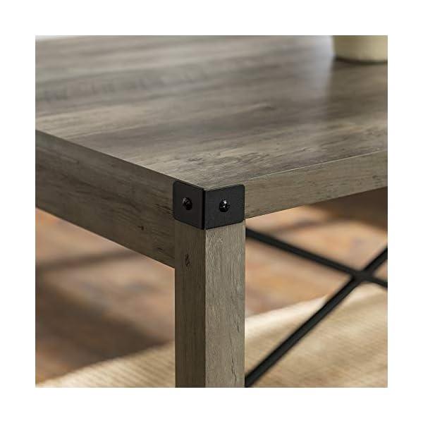 Walker Edison Lancaster Modern Farmhouse Trestle Style Metal X Dining Table, 48 Inch, Grey Wash