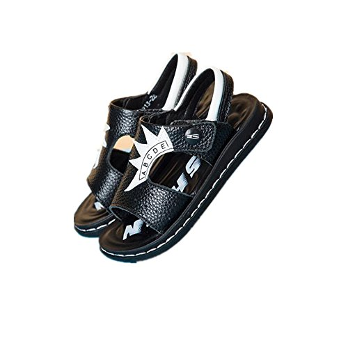 IINFINE Kids Boy and Girl's Adjustable Strap Athletic Sports Sandals Summer Outdoor Beach Shoes-(Black 29/11.5 M US Little Kid) ()
