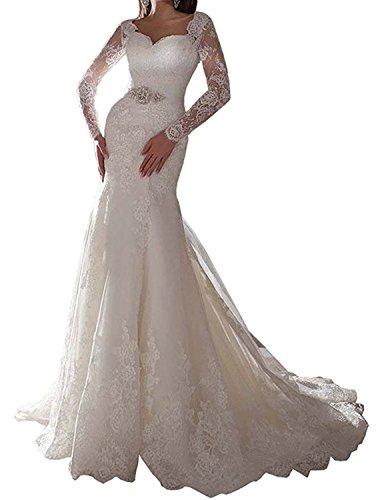 Diandiai Women's Lace Long Sleeve Mermaid Wedding Dresses For Bride Plus Size Modern Wedding Dress Ivory - Bridal Dresses Modern