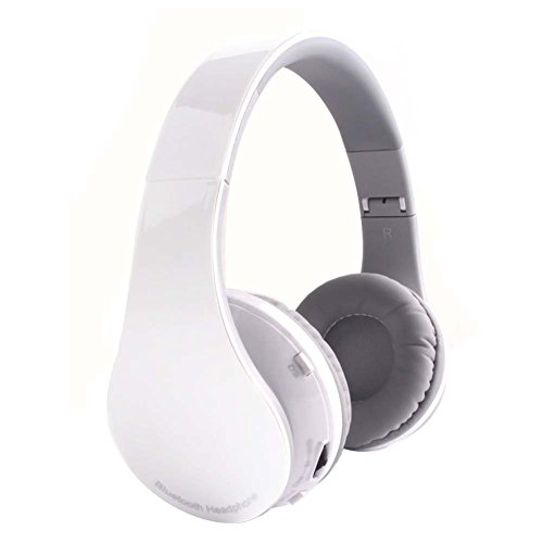 REDGO Bluetooth Gaming Headphones Stereo Wireless Headsets Over-ear Deep Bass Handsfree with Microphone Mic for PS4 Music MP3 MP4 iPhone Android Computer PC Mac Laptop Xbox Hands-free (White)
