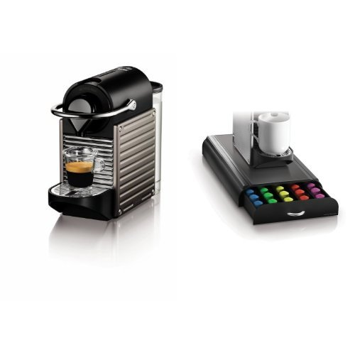 Nespresso Pixie Espresso Maker, Electric Titan and Mind Reader 'Anchor'Coffee Pod Storage Drawer for 50 Nespresso Capsules, Black Bundle