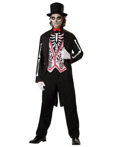 [Deluxe Skeleton Groom Costume - Mens Medium] (Dead Groom Costume)