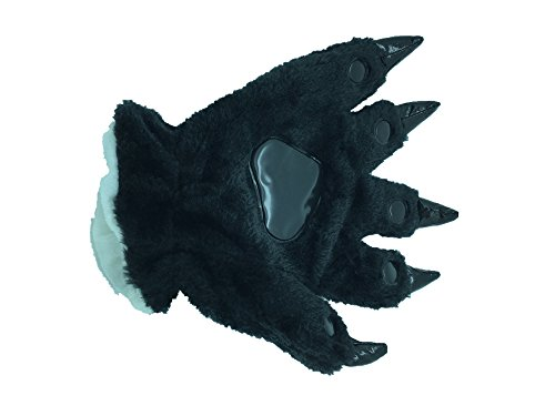Animal Paw Calw Plush Funny Halloween Costume Hand Gloves Black S