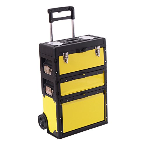 Cypressshop Portable Stackable Rolling Trolley Tool Box Storage Chests Stacking Organizer Cabinet Metal Hand Tools Power ()