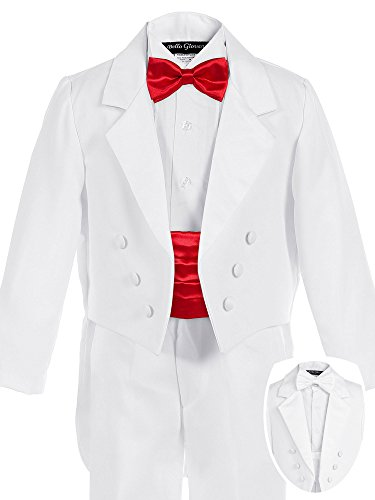 Bello Giovane Boys White Penguin Tuxedo with Colored Cummerbund 7 Piece Set (5, Red) (Piece Tuxedo Set Five)