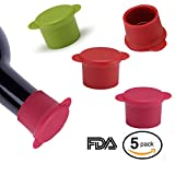 silicon beer caps - Silicone Wine Bottle Caps - Set of 5 Reusable and Unbreakable Sealer Covers - Silicone Wine Stoppers To Keep Wine or Beer Fresh For Days With Air Tight Seal