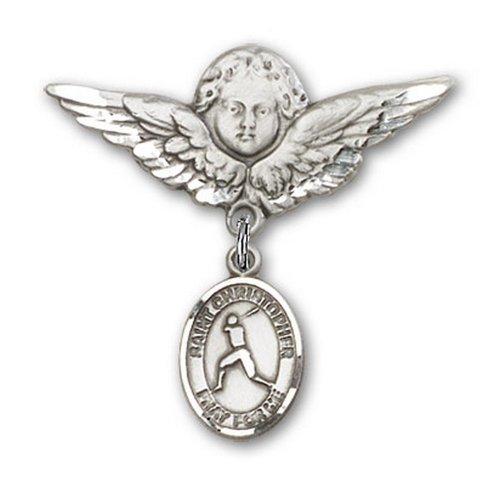 Icecarats Créatrice De Bijoux En Argent Sterling St. Christopher / Charme De Baseball Broche De Badge Angel 1 1/8 X 1 1/8