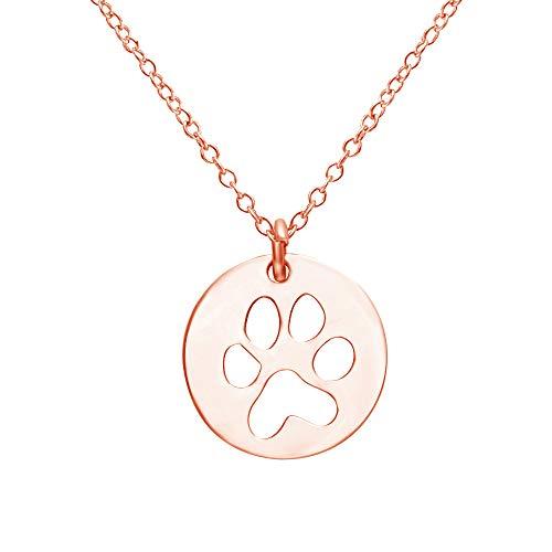 (SENFAI Tiny Puppy Paw Print Pendant Necklaces for Women,18
