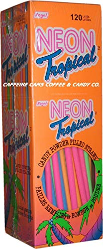 Neon Tropical Candy Powder Filled Straws]()