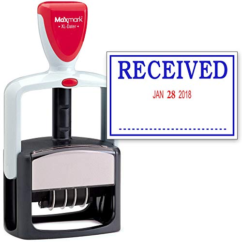 Plus 2000 Inking Self (2000 Plus Heavy Duty Style 2-Color Date Stamp with Received self Inking Stamp - Blue/Red Ink)