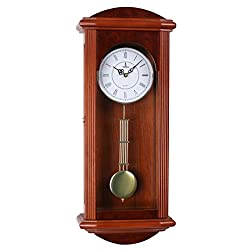 Stay Fresh Best Pendulum Wall Clock, Silent Decorative Wood Clock With Swinging Pendulum, Battery Operated, Large Red Wooden Design, For Living Room, Kitchen, Office & Home Décor, 26.75 x 11.5 inches