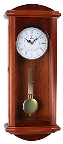 Stay Fresh Best Pendulum Wall Clock, Silent Decorative Wood Clock with Swinging Pendulum, Battery Operated, Large Red Wooden Design, for Living Room, Kitchen, Office & Home Décor, 26.75 x 11.5 inches (Regulator Clock Glass)