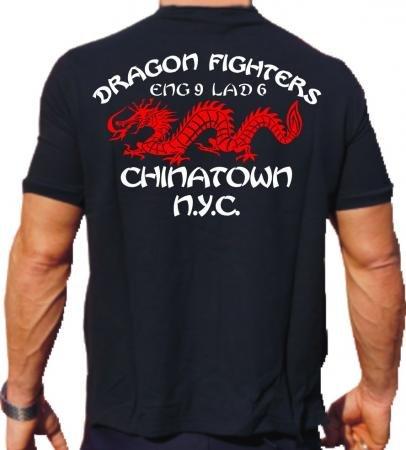'T-shirt Dragon Fighters–Chinatown Engine 9Ladder 6unità dei vigili del fuoco di New York Vigili Del Fuoco, Black feuer1