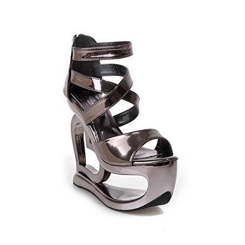 AmoonyFashion Womens PU Solid Zipper Open Toe High Heels Sandals Gray zexaUee