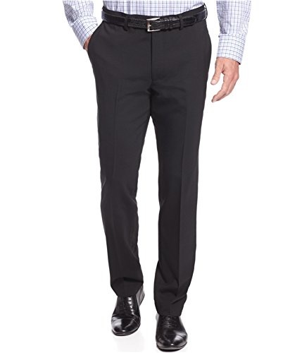 Kenneth Cole Black Flat Front Minicheck Wool Blend New Men's Dress Pants (36W x 32L)