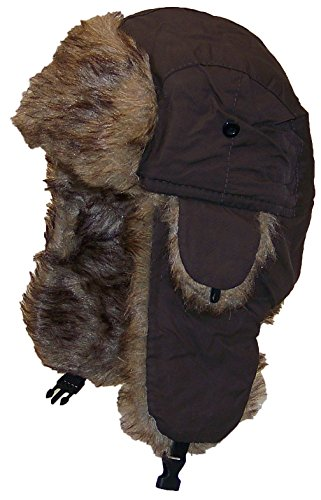Best Winter Hats Solid Color Nylon Russian/Trapper W/Soft Faux Fur Hat(One Size) - ()