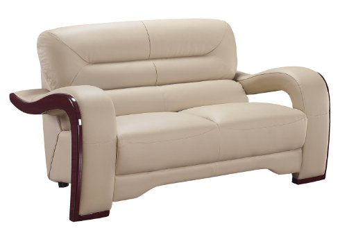 Cheap Global Furniture Isaiah Collection Bonded Leather Matching Love Seat, 992, Cappuccino