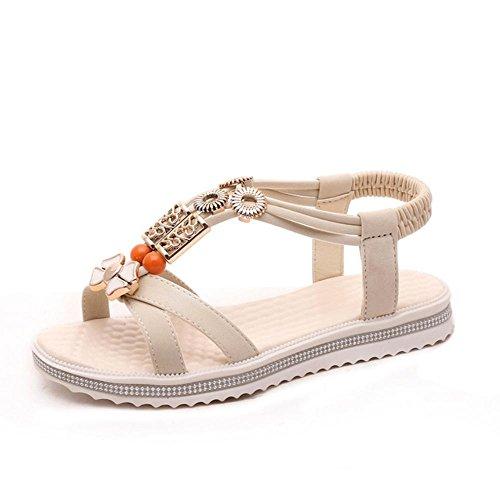 Verano Zapatos Casual Sandalias Zapatos De Bajo Tacón Zapatos Descubiertos Zapatos De Playa De Moda Zapatos No - Deslizantes meters white