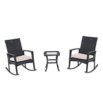 Amazoncom Outsunny 3 Piece Outdoor Rocking Chair and Table Set