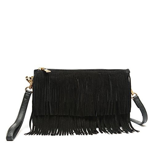 Triple Compartments Double Layer Faux Suede Fringe Clutch Crossbody Bag With Wristlet Black