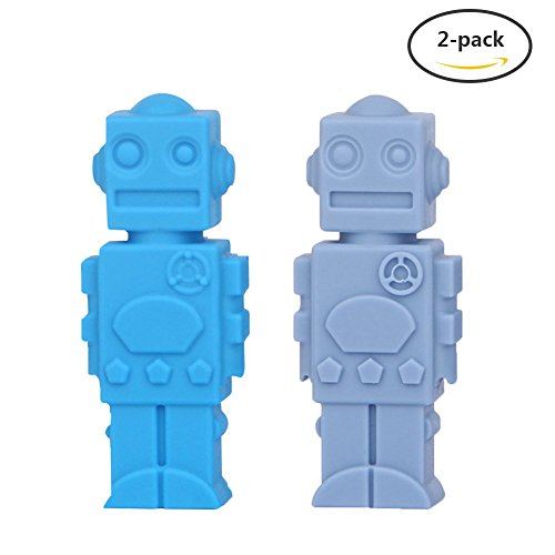 Pencil Toppers for Baby, Yuccer 2 Pack Silicone Sensory Chewy Fidget Toys for Kids Autism Pencil Topper (Blue+Grey blue)