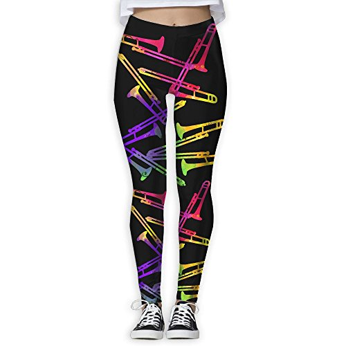 COLORFUL TROMBONES Women's Stretchable Sports Running Yoga Workout Leggings Pants ()