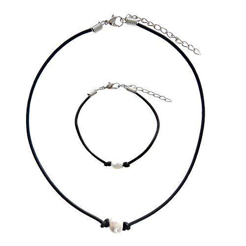 - Single Pearl Leather Choker and Bracelet on Genuine Black Greek Leather Cord for Women - Freshwater Cultured Pearl Choker Necklace and Bracelet Gift Set - Handmade Jewelry Gift