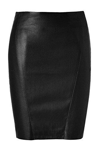 Koza Leathers Women's Leather Skirt Genuine Lambskin Real Leather Knee Length Skirt KS001 (Medium (Waist - 32-33