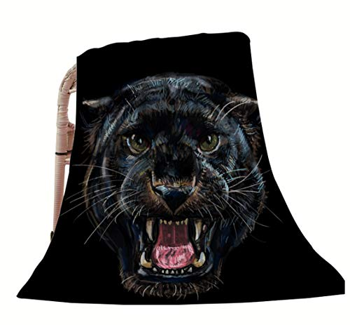 "HGOD DESIGNS Animal Throw Blanket,Black Panther Roaring Tatto Design Soft Warm Decorative Throw Blankets for Adults Kids Women Men Girls Boys,60""X80"""