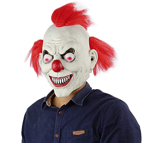 TV Clown Costume Latex Mask Creepy Evil Scary Halloween Mask for Adults Ghost Festive Party Horror Supplies Decoration (red) -
