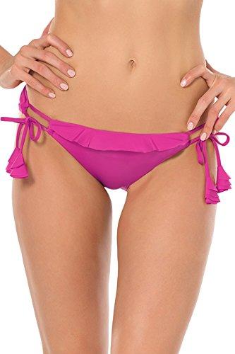 Becca by Rebecca Virtue Women's Loop Tie Side Hipster Bikini Bottom Flamingo (Side Tie Hipster Bikini Bottoms)