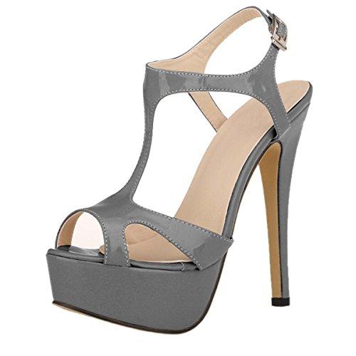 HooH Women's Peep Toe Platform Hollow Out Dress Sandals Grey NdjzGM2