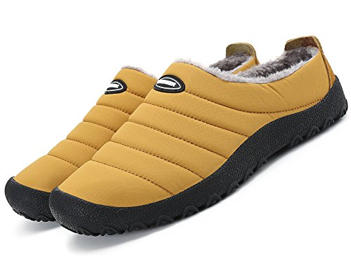 welltree Women Men Indoor Outdoor Slippers Fur Lined Winter Waterproof Clog House Shoes Yellow 9 US Men/11 US Women/43 (Fur Lined Rubber Clogs)