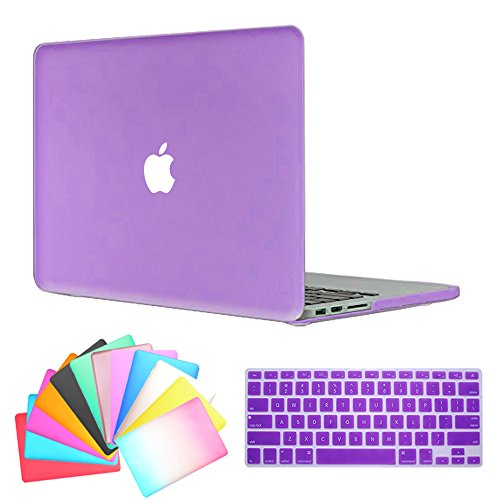 MacBook Air 13 Inch Case,Anrain AIR 13-inch Rubberized See Through Hard Shell Snap On Case Cover with Keyboard Cover For Apple MacBook Air 13.3 (Models: A1466 A1369),Purple