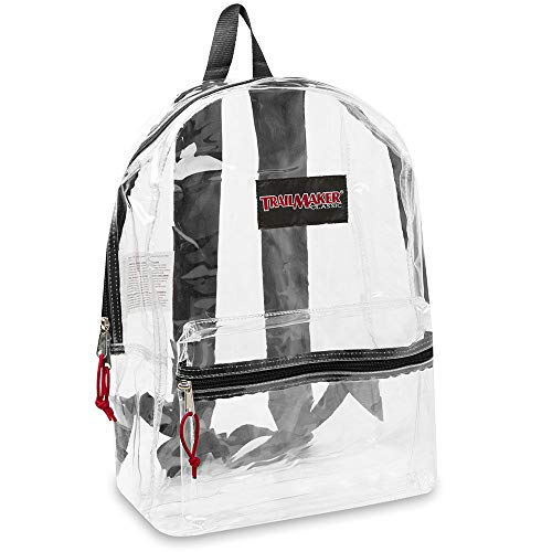 "17"" Trailmaker Backpack Bookbag, Clear Black Trim"