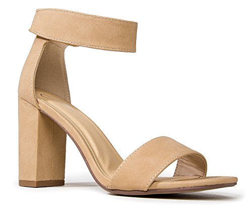 J. Adams Zaley High Heels – Open Toe Adjustable Ankle Strap Chunky Heel Sandals