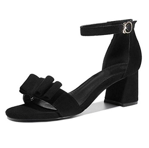 Mujer De Botón Un Hebilla Bolsa Grueso Tacón Negro Moda Arcos Salvaje Medio Redondas Talón Sandalias 5YRqEE
