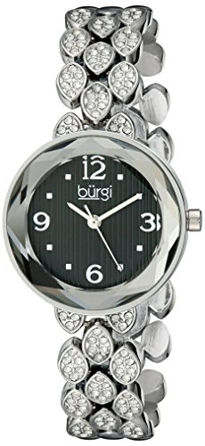 Burgi Women's BUR124SSB Swarovski Crystal Accented Faceted Black Dial Silver Bracelet Watch