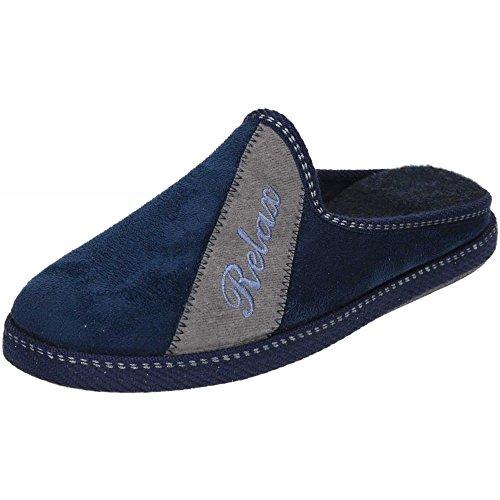 jwf Slipper Mules Faux Suede Cosy Slip On Wedge Raised Heel Blue
