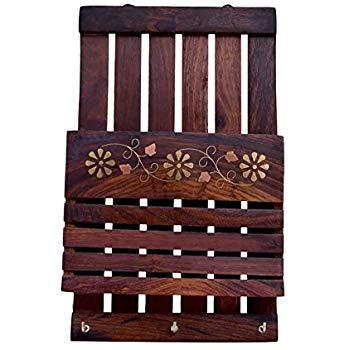 treasure land Handmade Wooden Wall Decor Letter Rack  amp; Key Holder 5 Hooks  Key Holders