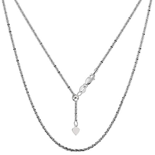14K White Gold Ladies Adjustable Sparkle Chain Necklace 1.5mm - Gold Ladys White Chain