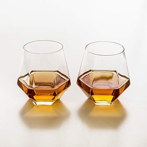 (Diamant Set of 2 Drinking Glasses - Geometric, Multi-Use, Modern Glassware - Lightweight, Luxury Glass Set - For Cocktails, Whiskey, Bourbon, Iced Tea, Lemonade - Box Set, by Kop & Hagen)