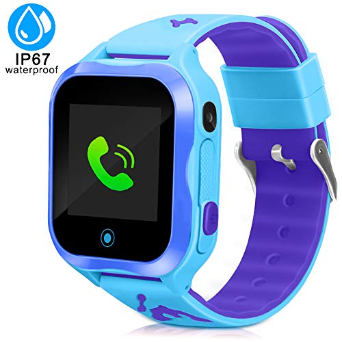 LTAIN Kids Smart Watch Waterproof Phone Smartwatch for Children Anti-Lost GPS Tracker Phone Watch with 1.44 inch Touch Screen SOS Canera Timer Game Birthday Gift for Boys and Girls(Blue)