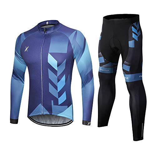 Xtextile Men's Long Sleeves Cycling Jersey Suit Bicycle Shirt Padded Tights Pants (Gradient Blue Cycling Jersey & Pants Set (Long Sleeves), Small)