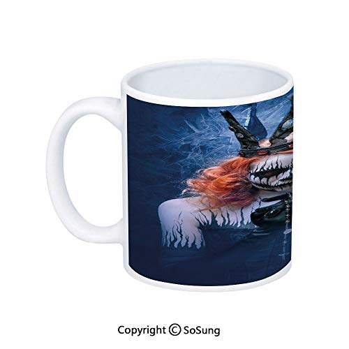 Queen Coffee Mug,Queen of Death Scary Body Art Halloween Evil Face Bizarre Make Up Zombie,Printed Ceramic Coffee Cup Water Tea Drinks Cup,Navy Blue Orange Black ()