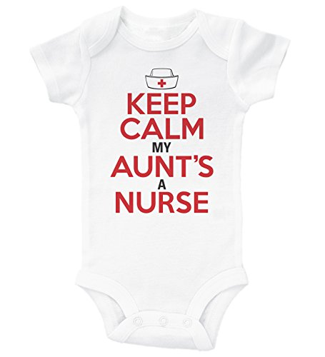 Baffle Keep Calm, My Aunt's A Nurse/Funny Onesie from Aunt/Baby Shower (Newborn, White SS)