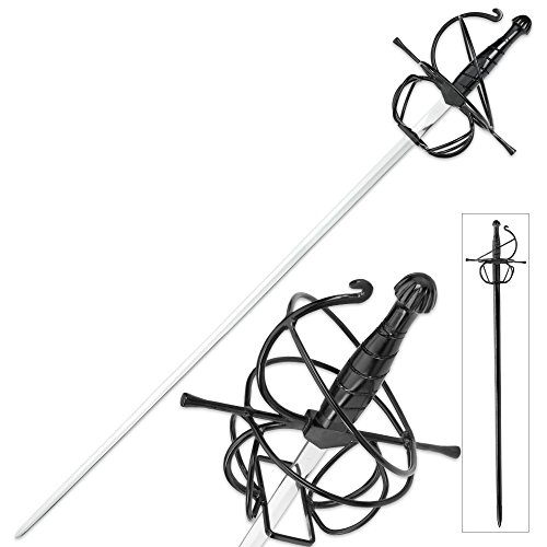 Iron Stinger (Seville Stinger Rapier Display Sword, Scabbard - Spiral Swept Hilt - Renaissance, Late Medieval / Middle Ages, Spanish, French, Italian - 3 Musketeers, Man in Iron Mask - Historical Fencing Dueling)